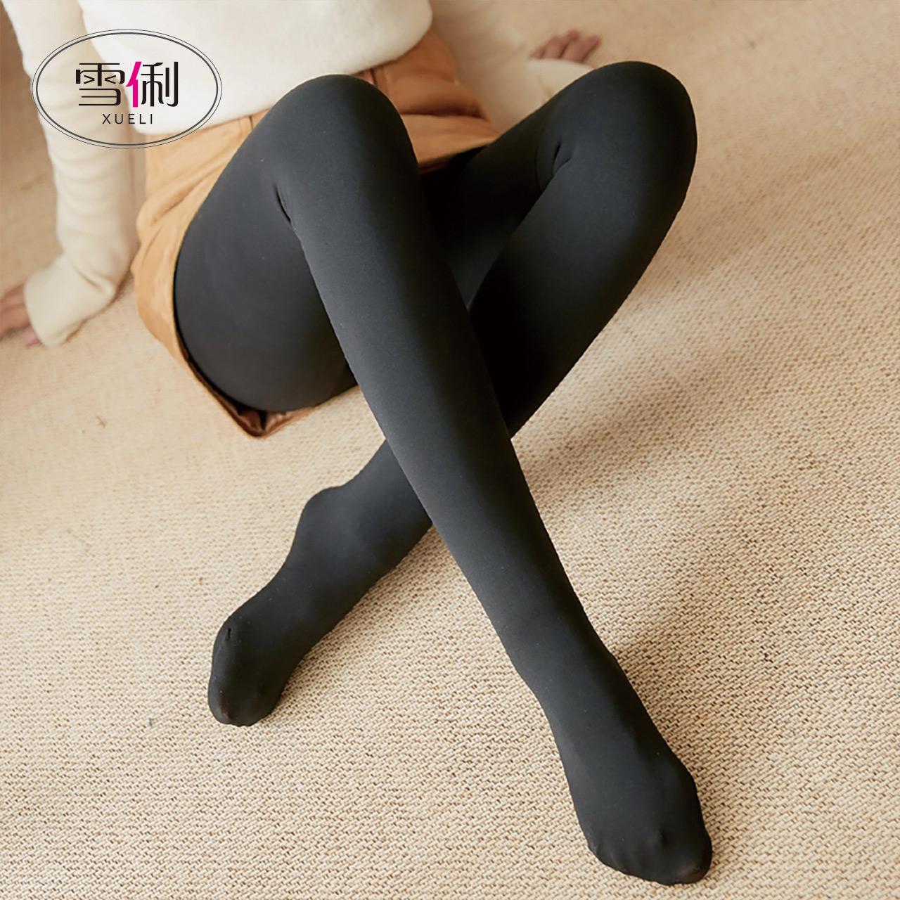 秋冬季光腿打底裤女裸感薄款外穿神器肉色肤色秋裤加绒保暖厚连袜