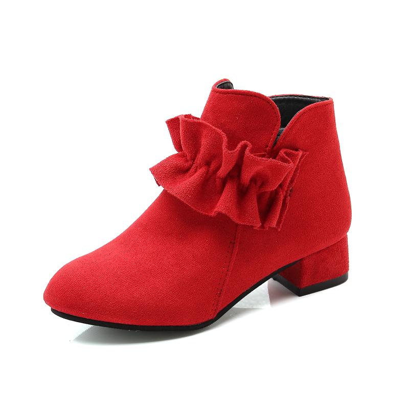 女童靴子2019秋冬新款女孩加绒棉靴公主鞋中大童儿童高跟短靴单靴