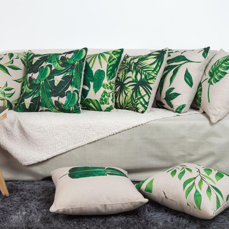 北欧ins时尚森林沙发亚麻靠垫抱枕套印花办公室客厅沙发装饰靠枕