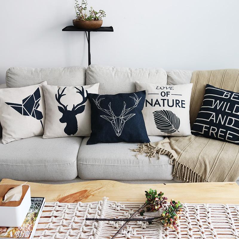 北欧ins几何鹿头简约棉麻抱枕套沙发靠枕腰垫办公室装饰座椅靠垫