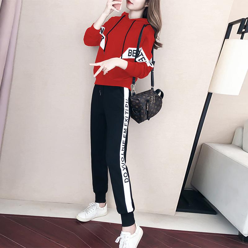 春秋新款两件套大码女装时尚运动拼接显瘦时髦韩版印花卫衣套装女