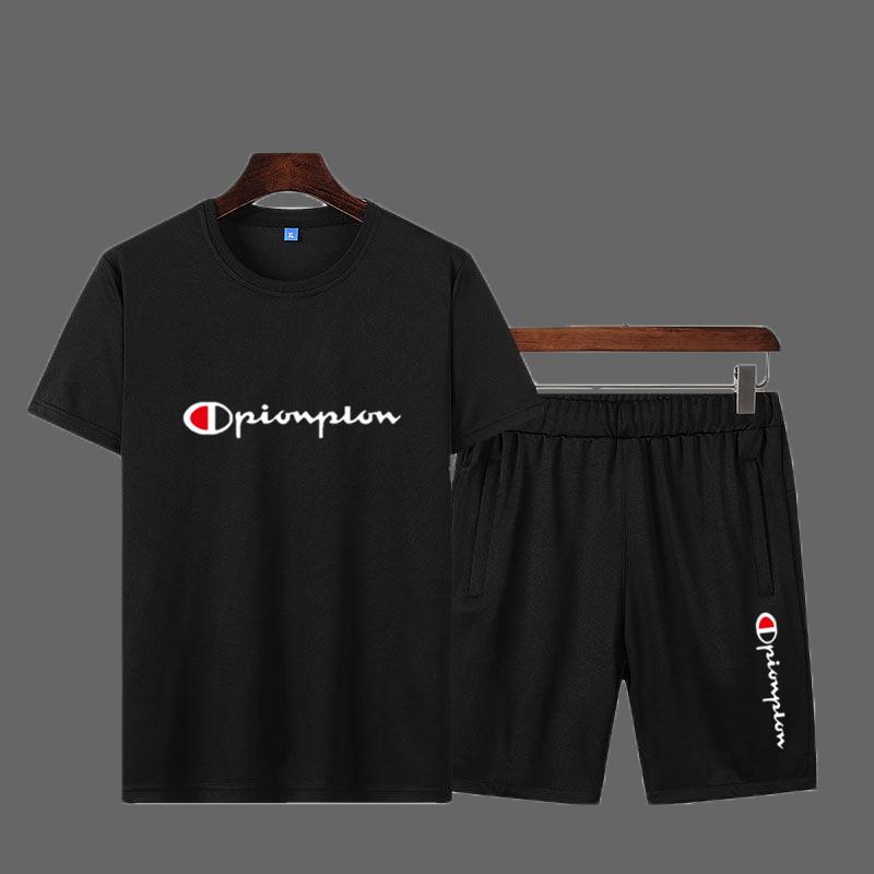 运动套装男官网旗舰2020夏季新款透气短袖t恤短裤跑步运动服