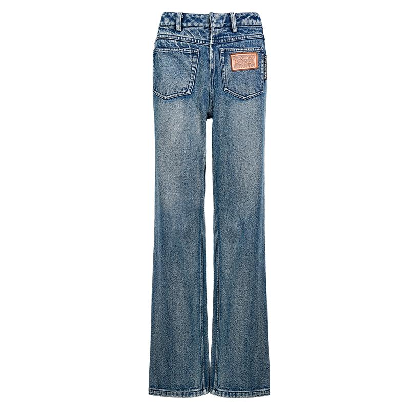 【地球店】牛仔裤女高腰显瘦显高直筒宽松深色裤子2020秋季新款