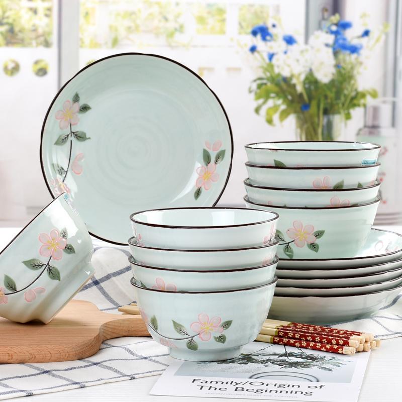 餐具套装碗盘家用日式创意小清新陶瓷碗5英寸加厚防烫饭碗10只装