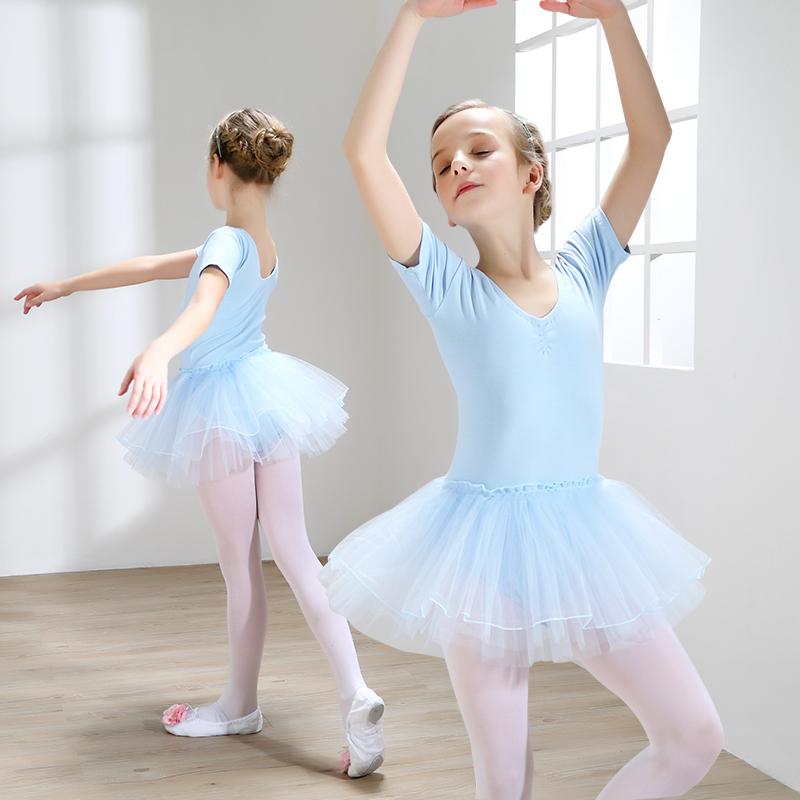 舞蹈服儿童女芭蕾舞蹈裙短袖夏季幼儿练功服纯棉少儿中国舞舞蹈服