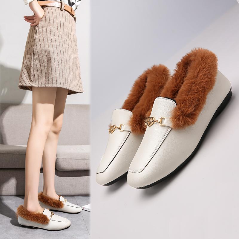 颐娉冬季新款加绒豆豆鞋子套脚女方头韩版保暖PU面棉鞋皮毛毛女鞋