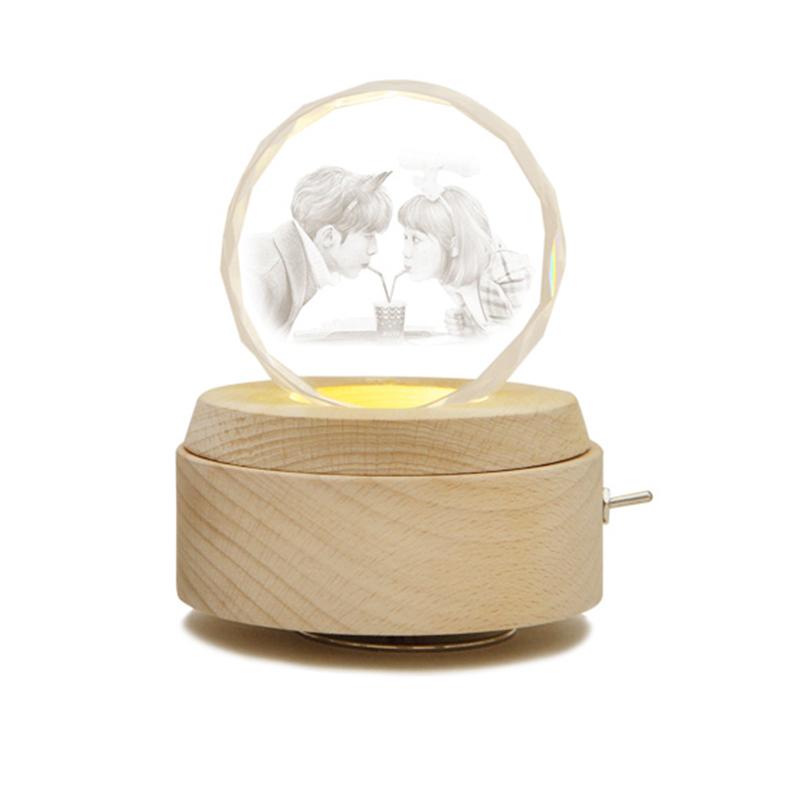 定制结婚礼物男生女生圣诞节生日礼物 diy 水晶球音乐盒旋转照片