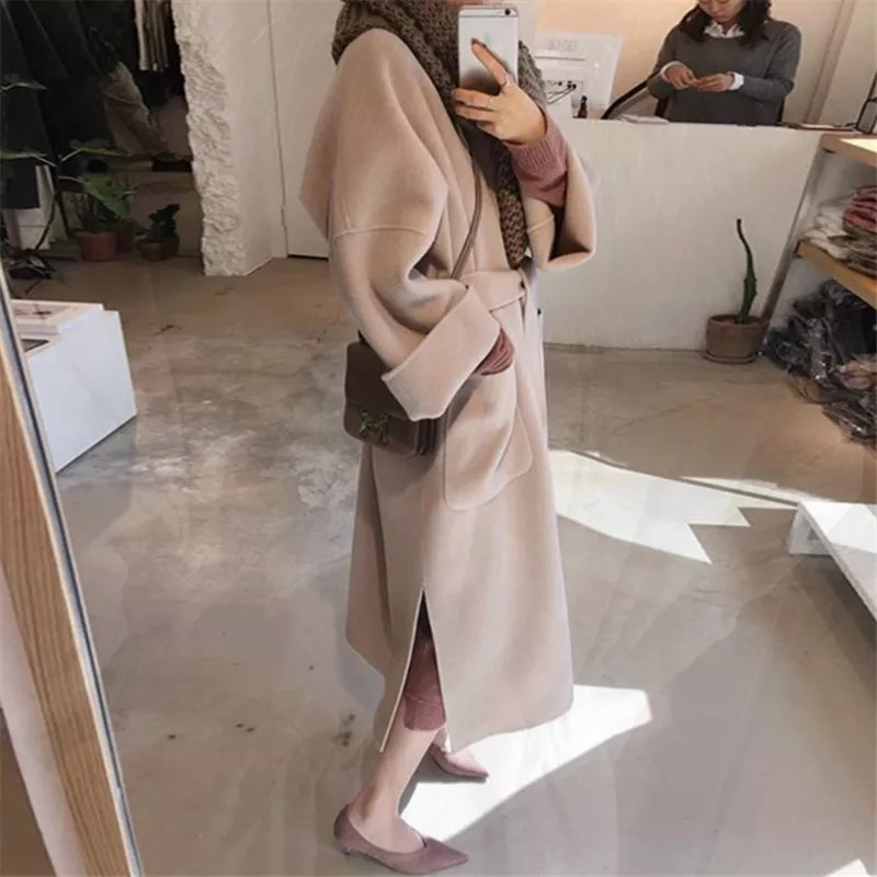 赫本风呢子大衣女中长款2018新款秋冬季韩版流行双面加厚毛呢外套