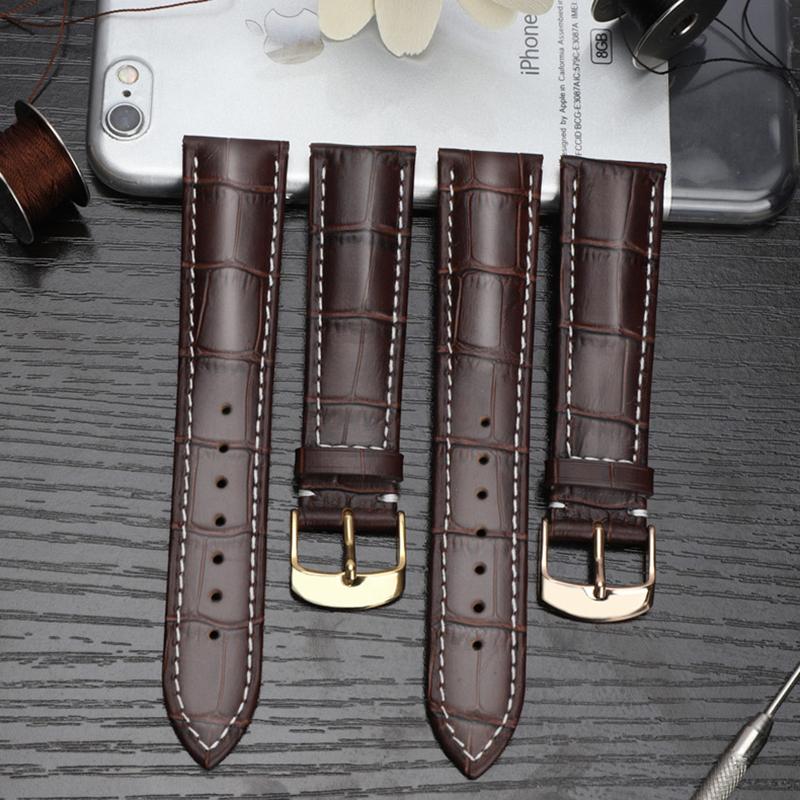 皮手表带软真皮表带配件男女通用蝴蝶扣表链牛皮带子适用于浪琴DW