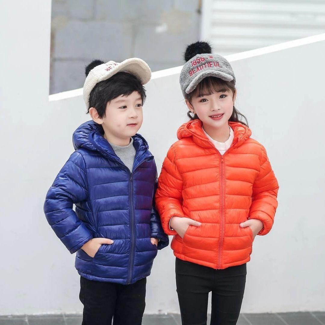 2020新款儿童轻薄款羽绒棉服1-14岁男童女童秋冬保暖连帽外套短款