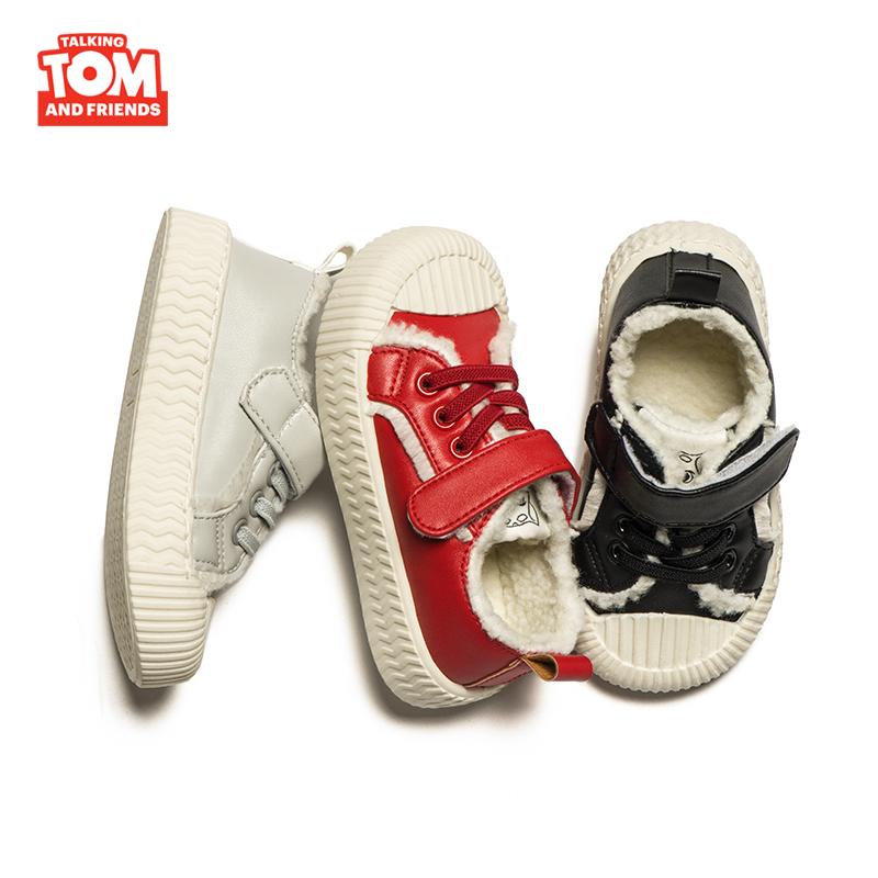 汤姆猫儿童加绒帆布鞋秋冬幼儿园板鞋魔术贴免系带复古高帮饼干鞋