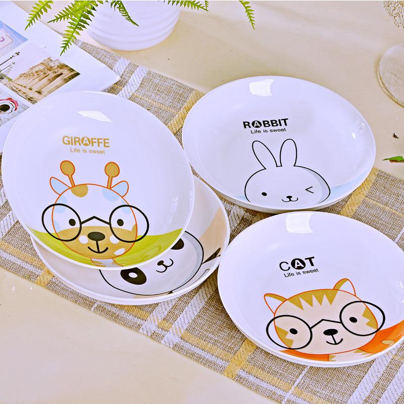 景德镇骨瓷16件卡通碗碟套装陶瓷碗筷盘子家用微波炉餐具吃饭碗