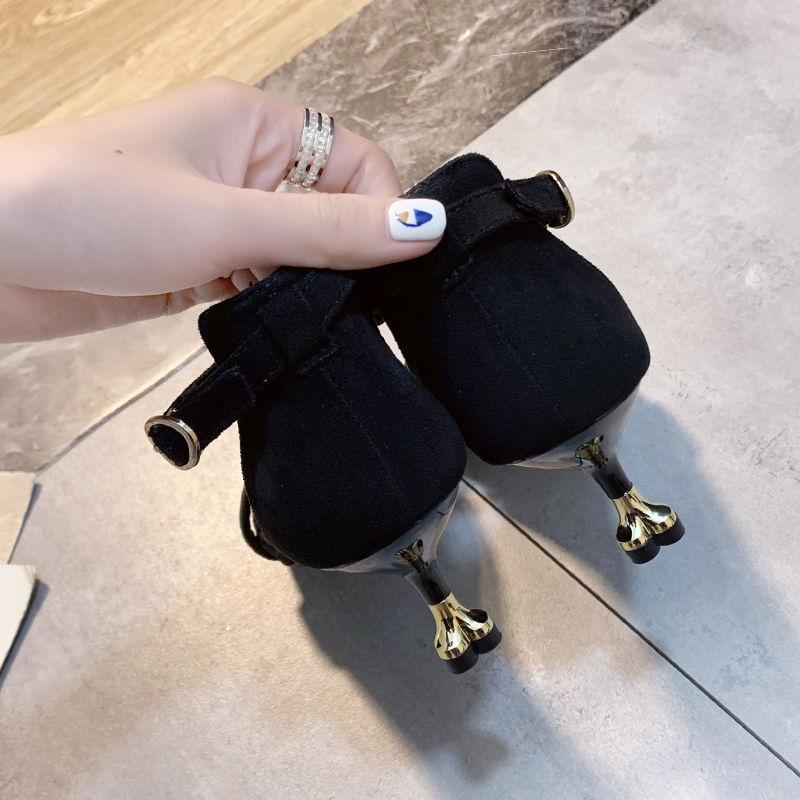凉鞋女高跟细跟夏新款少女拼色性感露趾中跟小清新一字扣女鞋35