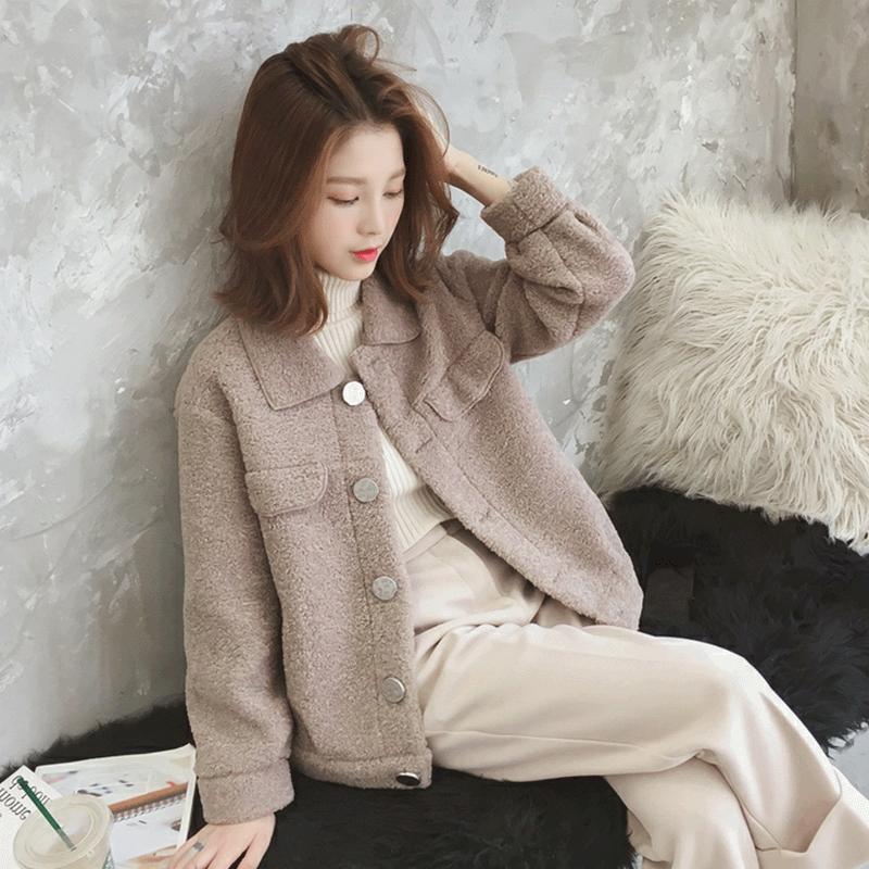 羊羔毛外套女2019秋冬韩版新款宽松加厚防羊绒小个子短款chic上衣