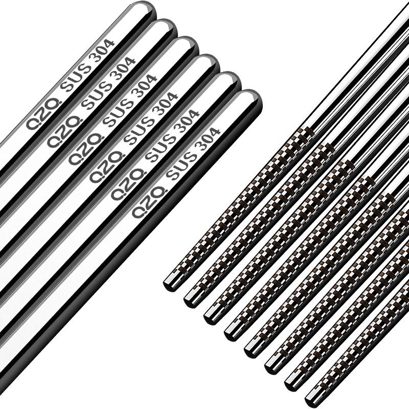 不锈钢筷子304家用防滑10双家庭套装金属耐高温不发霉的银铁快子