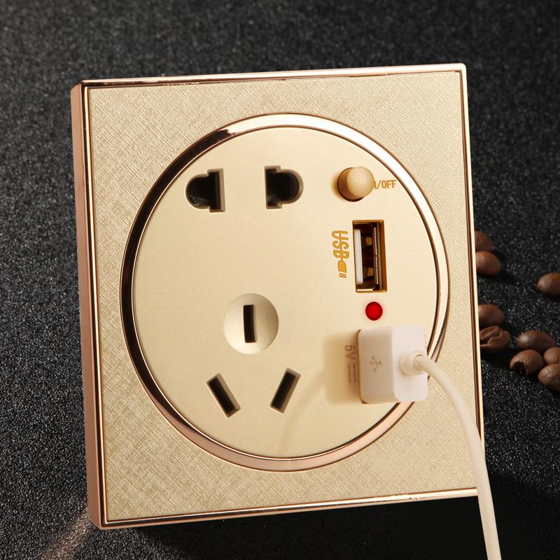家用墙壁86五孔USB开关插座面板5孔电源插座 86型usb电源开关插座