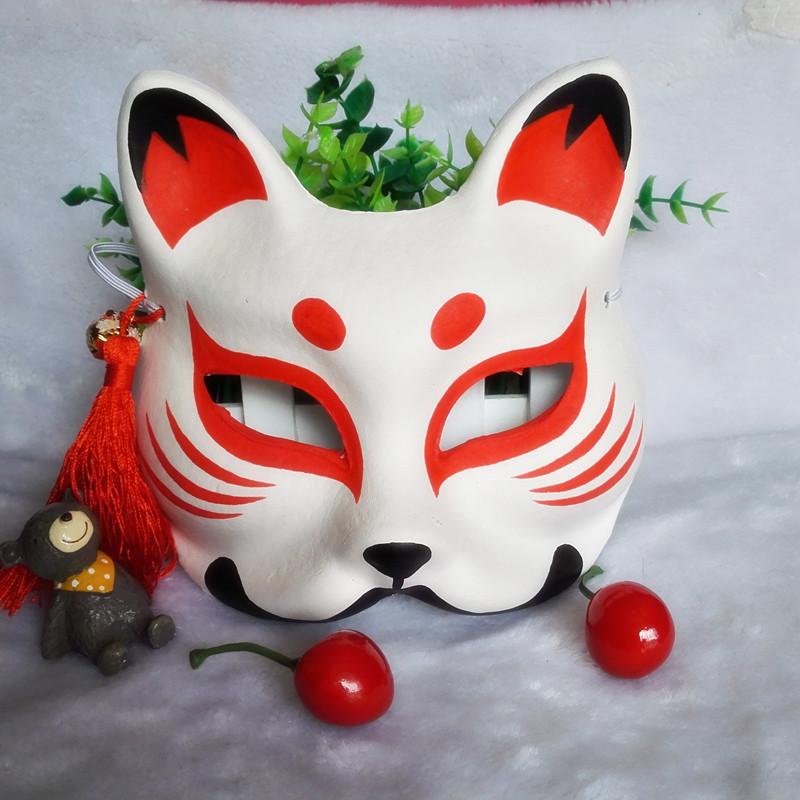 万圣节狐狸面具 纸浆狐狸面具 cos手绘和风古典手工猫