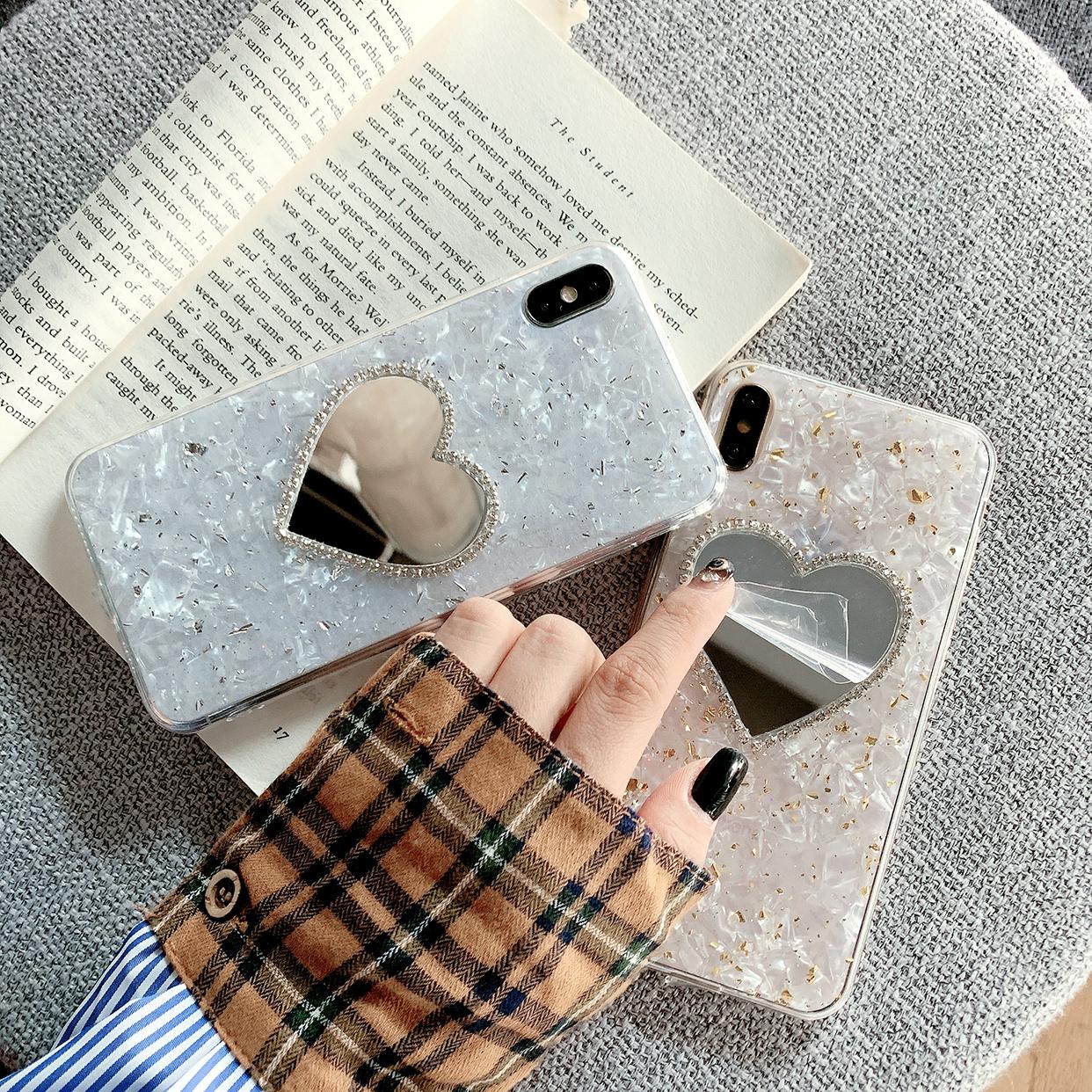 韩风爱心镜子iphone11promax金箔贝壳纹xr滴胶X女8plus软7p手机壳