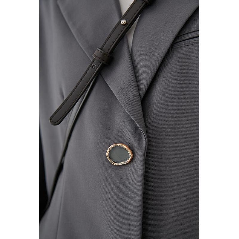 范洛 2020新款秋装灰色宽松休闲小西装外套女韩版西服
