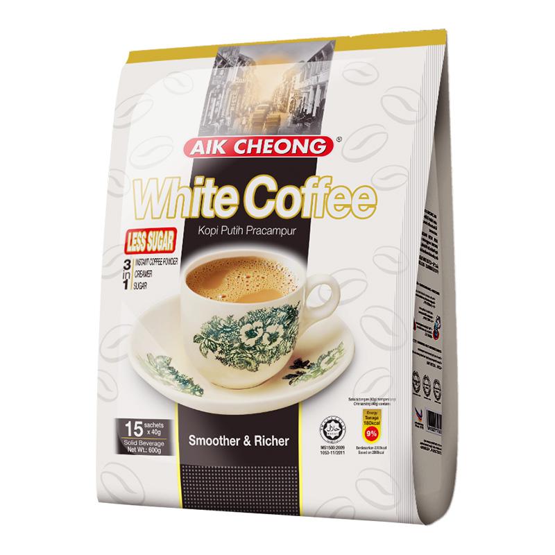 【进口】马来西亚益昌减少糖白咖啡600g冲饮提神速溶咖啡三合一