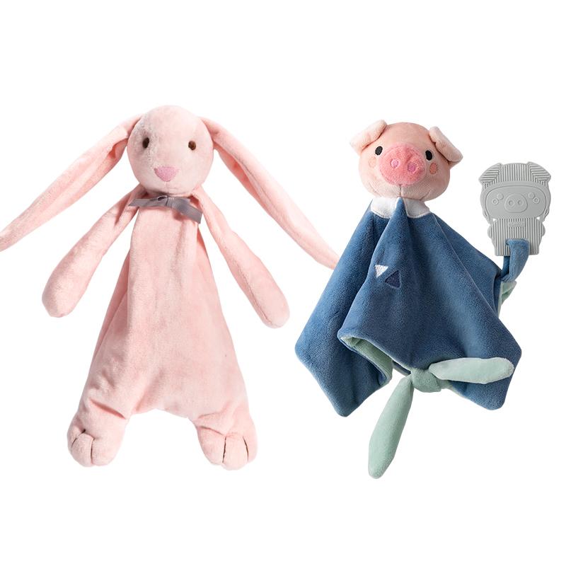 贝易安抚巾毛绒布娃娃玩偶婴儿玩具可入口咬宝宝哄睡眠新生0-1岁