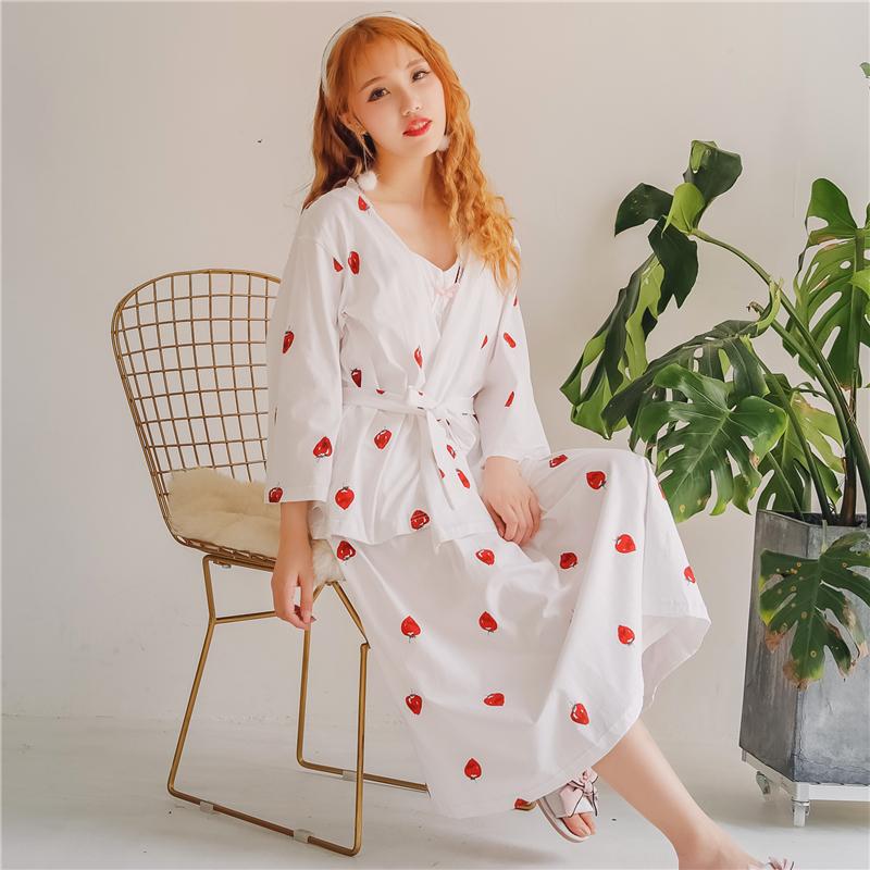 纯棉睡衣女可爱草莓带胸垫吊带长款短袖睡裙公主少女家居服薄秋季