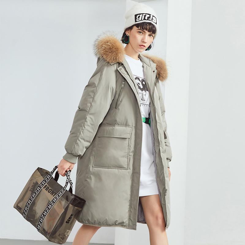 高梵羽绒服女中长款2018新款韩版冬季宽松加厚时尚大毛领连帽外套