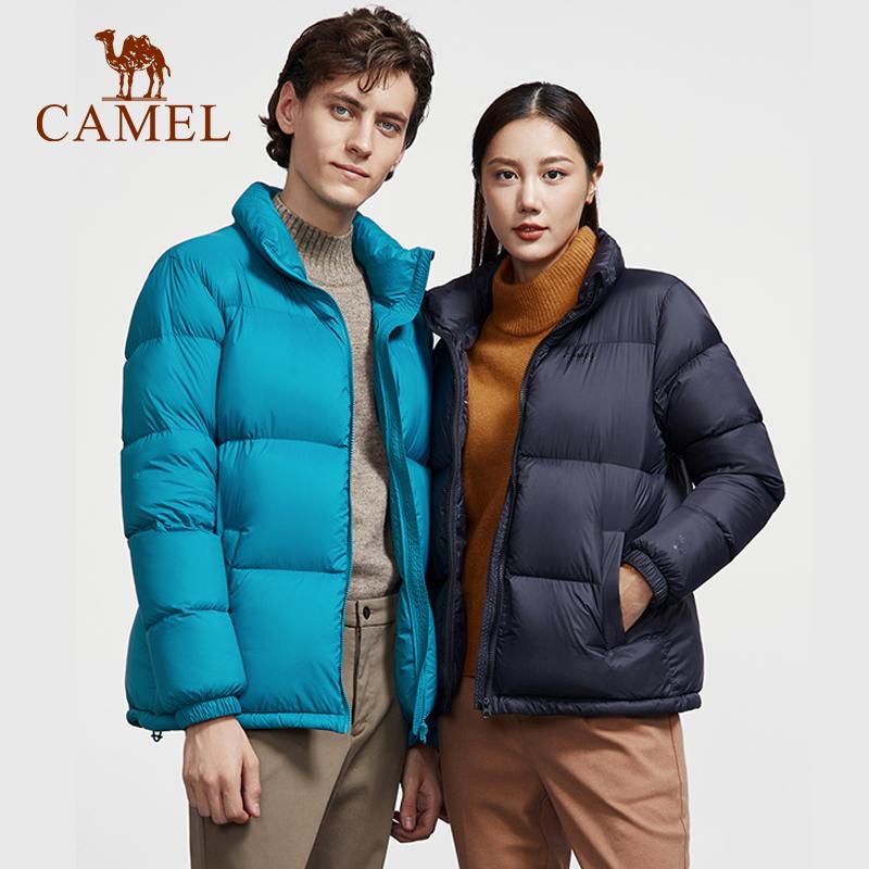 骆驼男装2021秋冬季新款羽绒服短款立领情侣白鸭绒保暖工装面包服