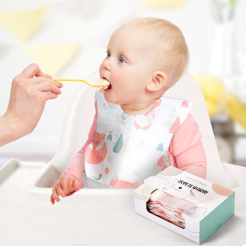 美帝亚一次性围兜宝宝饭兜婴儿口水巾儿童吃饭防水围嘴喂饭兜食饭