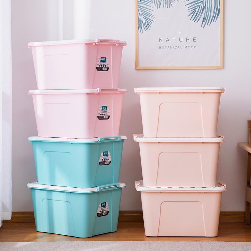 【朱丹推荐】茶花58L收纳箱3个装塑料客厅卧室整理箱特大号储物箱