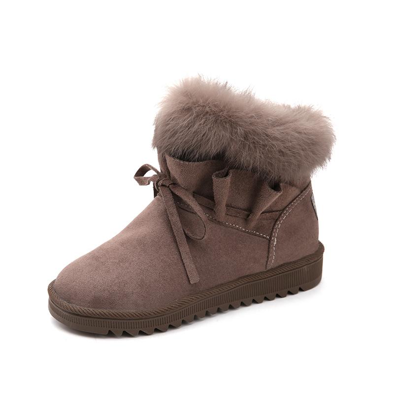 凡麦毛毛雪地靴女冬季2018新款短筒靴平底学生平底冬靴保暖棉鞋子