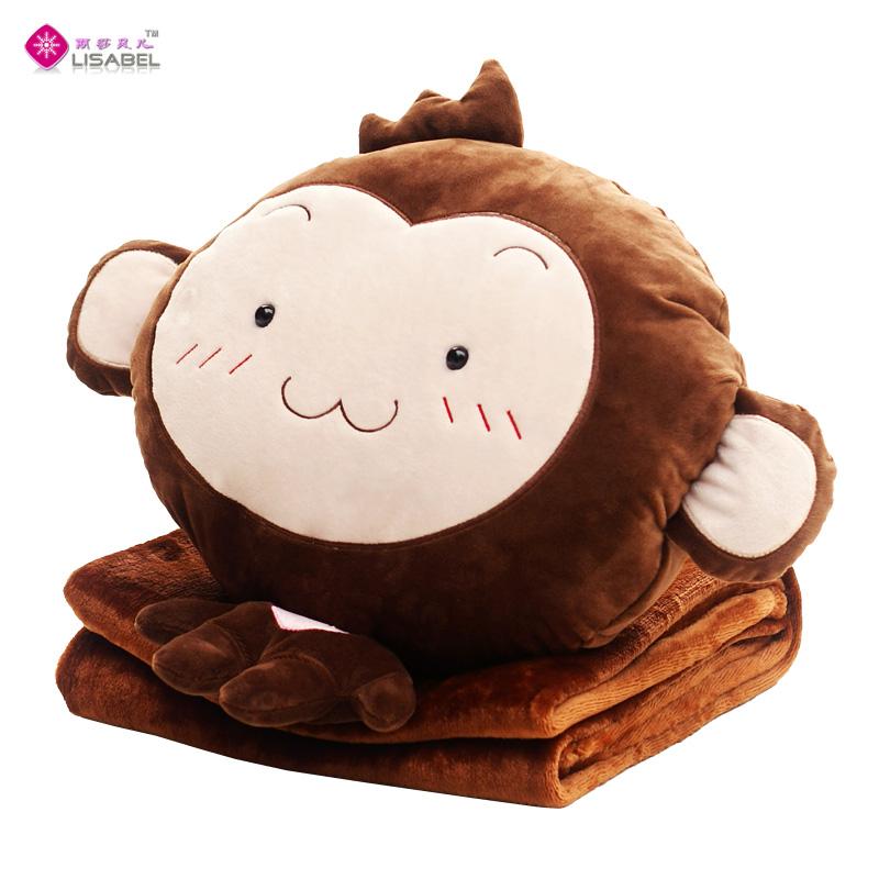 表情猴子暖手抱枕被子两用珊瑚绒毯子三合一 午睡枕毛绒玩具礼品