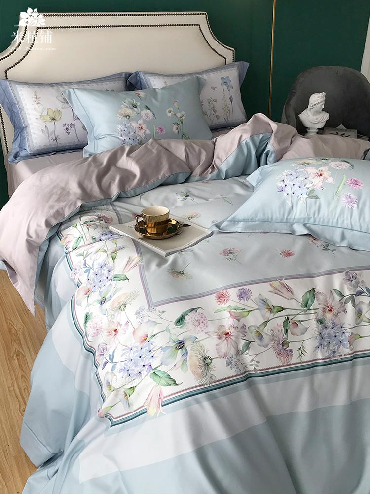 美式进口100支长绒棉四件套纯棉 田园贡缎全棉春夏双人用床上用品