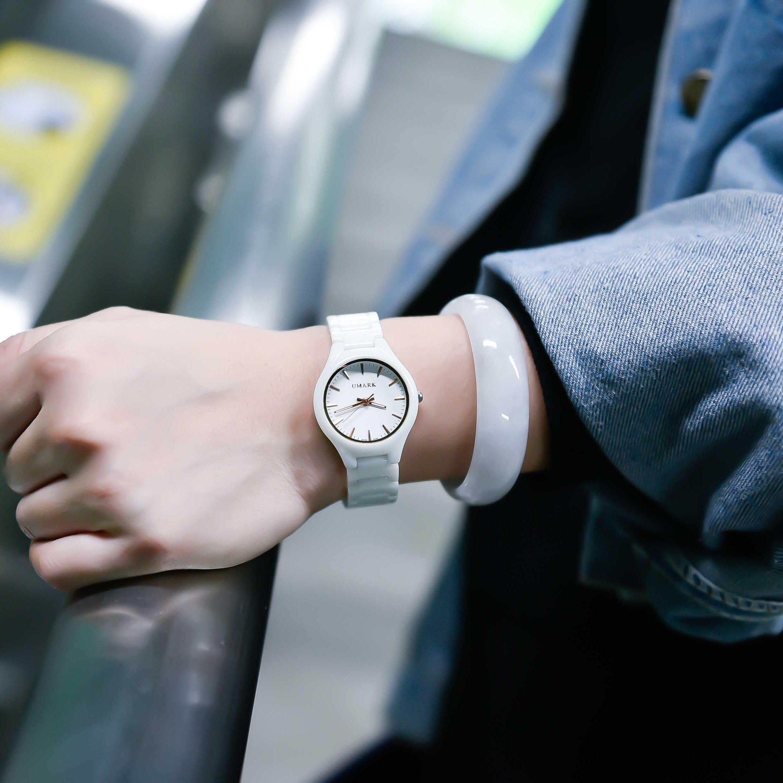 2018新款白色陶瓷手表女学生时尚防水潮流简约镶钻石英表百搭女表