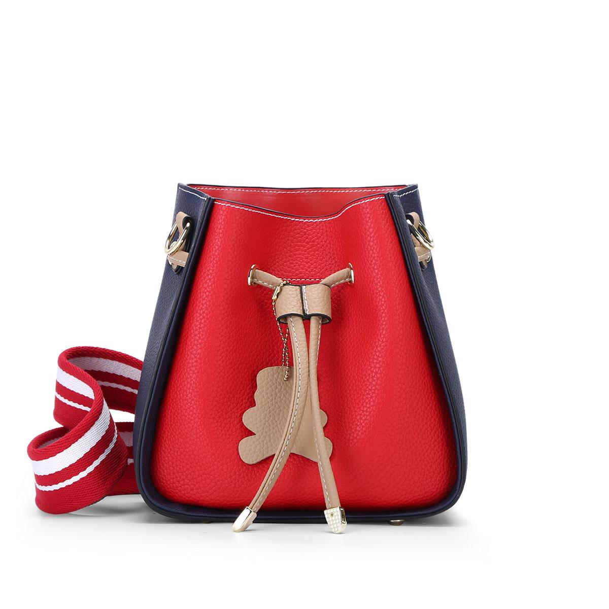 上新仙女单肩包手提两件套撞色多用宽肩带水桶包拼色斜挎包小包包