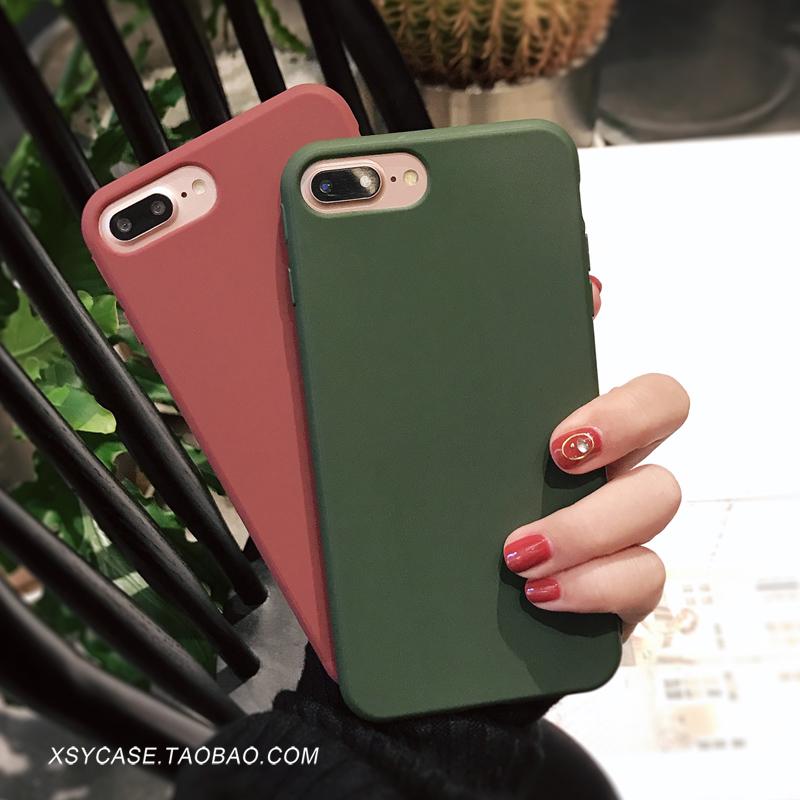 豆沙色iphone手机壳7苹果x纯色6s全包8硅胶plus防摔6女7p简约8p潮