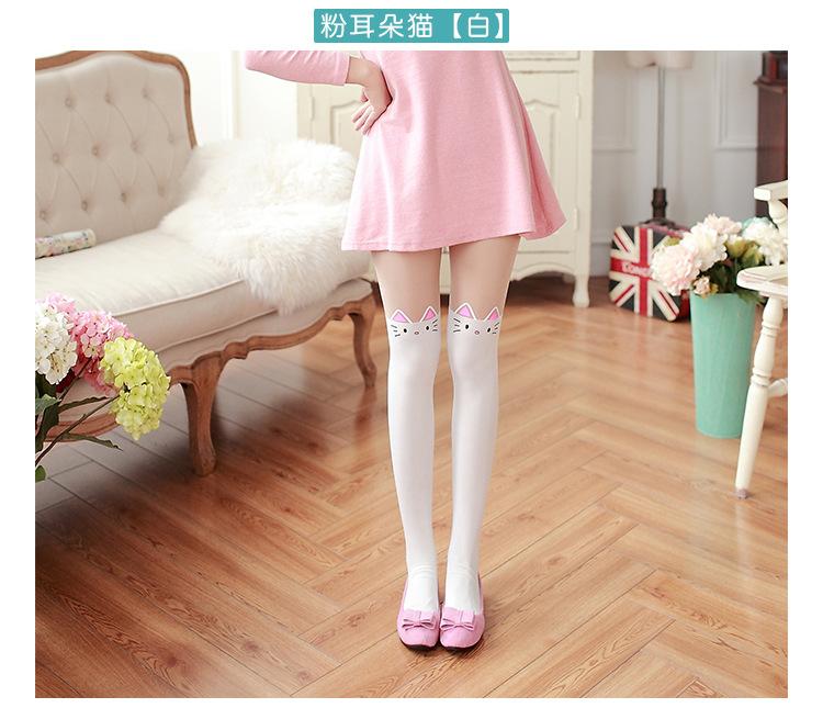 夏季韩版大女童假高筒卡通百搭儿童弹力长筒拼接打底连裤袜