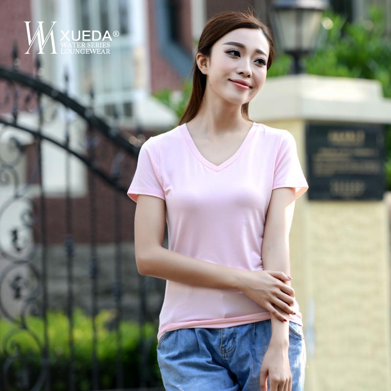 夏季女士纯色短袖修身t恤潮女士弹短袖t恤新款V领短袖T恤