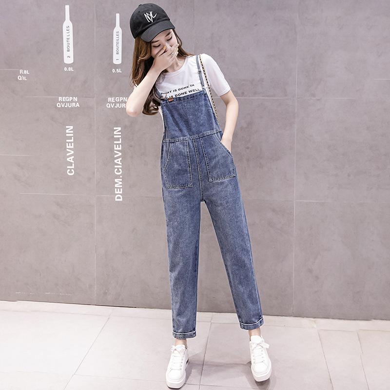 背带细带牛仔九分裤女夏季学生吊带连体裤显瘦显高高个子韩版宽松