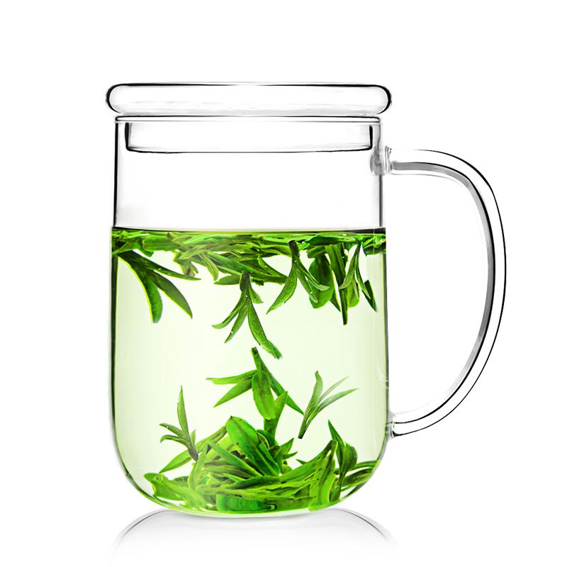 雅集大号玻璃杯茶杯大容量直觉办公室耐热透明泡茶杯家用水杯带盖