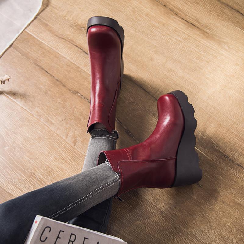 宝迪美崎真皮冬短靴马丁靴女2018新款松糕底厚底棉靴加绒坡跟女靴
