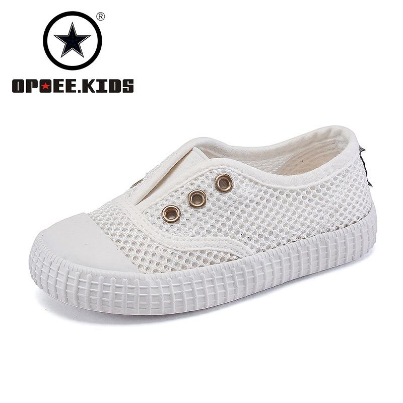 OPOEE童鞋儿童帆布鞋白色网眼鞋男童女童镂空凉鞋宝宝网面小白鞋