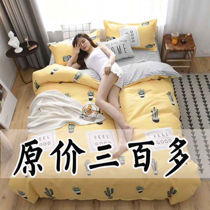 网红微商爆款四件套全棉纯棉特价ins风床上用品双人床单被套简约