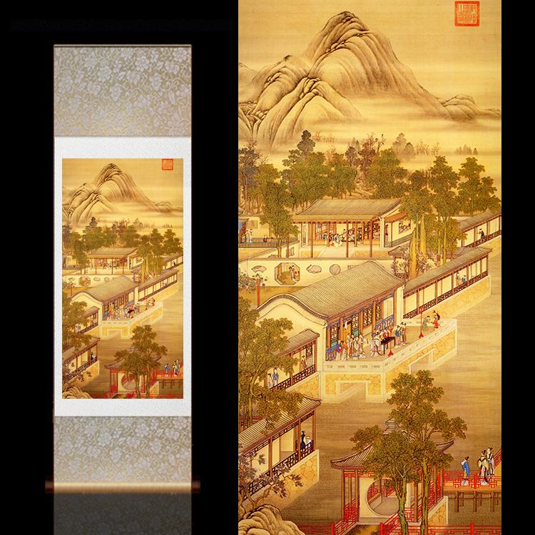 郎世宁国画古风卷轴画古典壁画定制酒店装饰十二月令客厅卷轴挂画