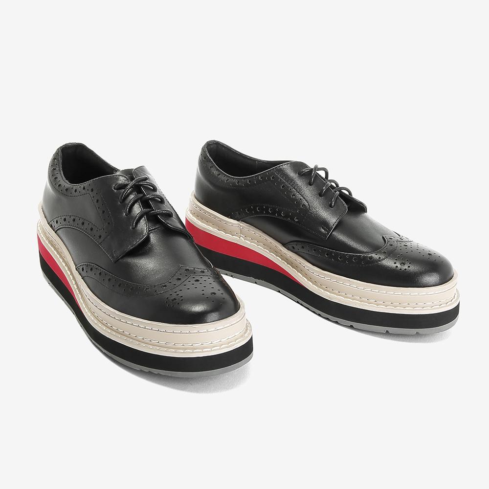 他她18秋新松糕鞋厚底韩版坡跟休闲单鞋s3a38cm8