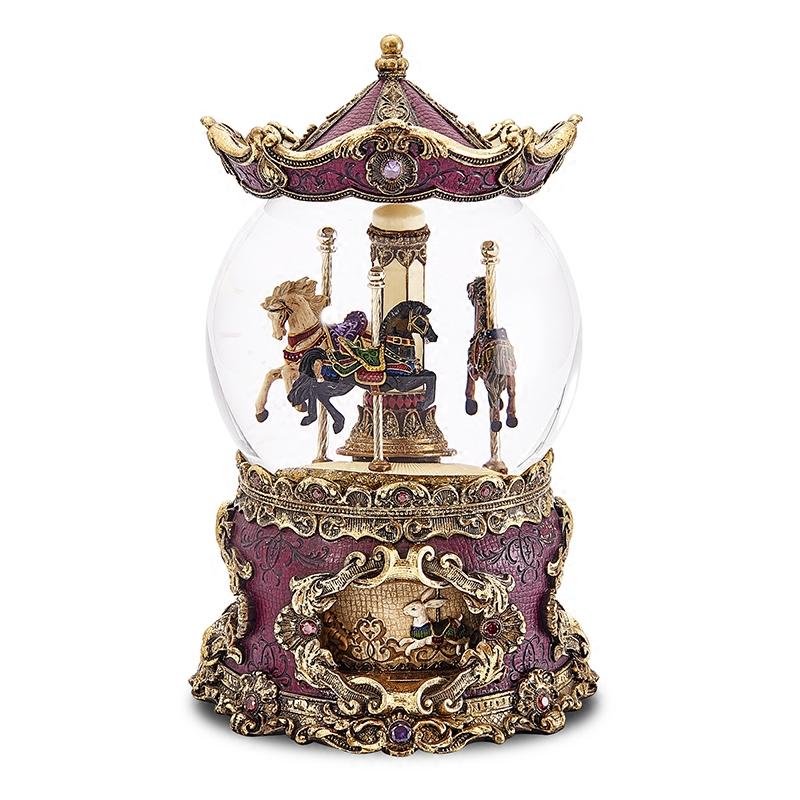 豪华旋转木马水晶球音乐盒雪花八音盒情人节生日礼物送女生 JARLL