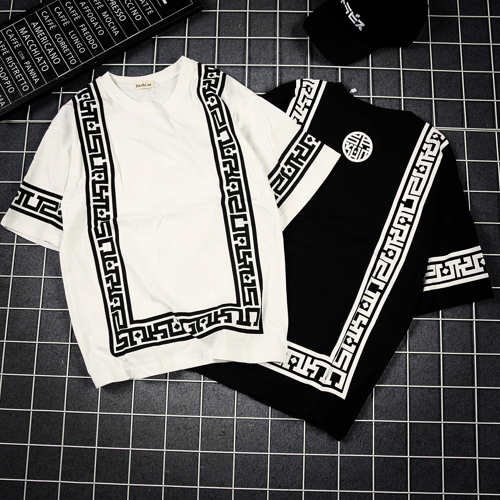 夏季新款几何印花短袖T恤男士加大码圆领七分体恤潮胖子韩版男装