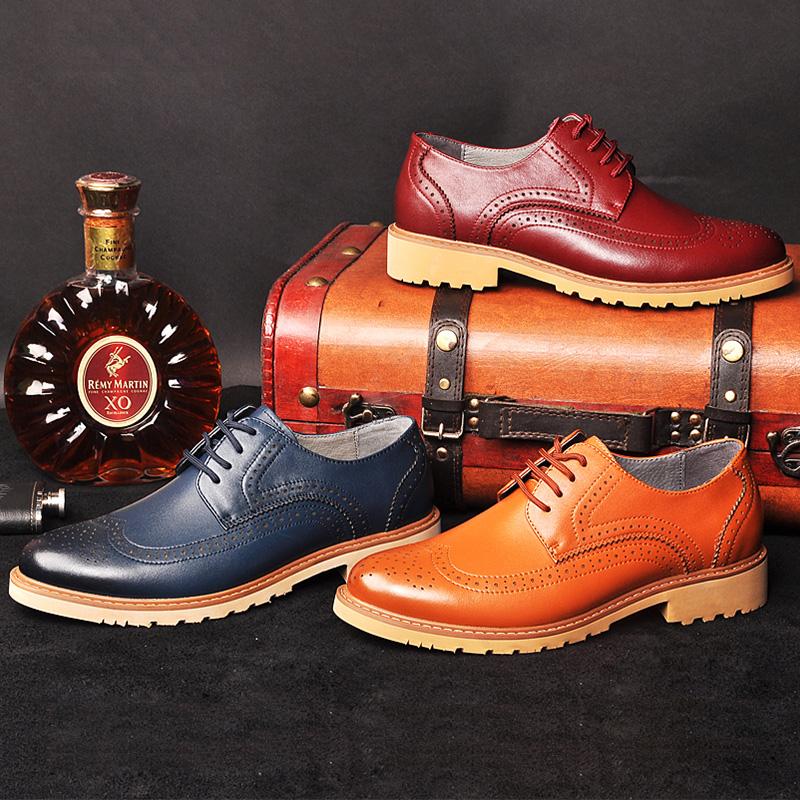 阿莱克顿 男士商务休闲皮鞋布洛克男鞋英伦雕花软面皮鞋男单鞋
