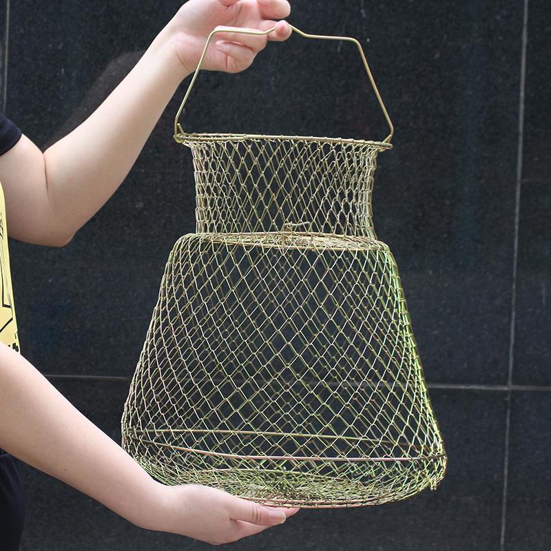 折叠钢丝鱼护鱼篓网兜渔护渔网装鱼金属不锈钢铁丝鱼笼编织鱼户