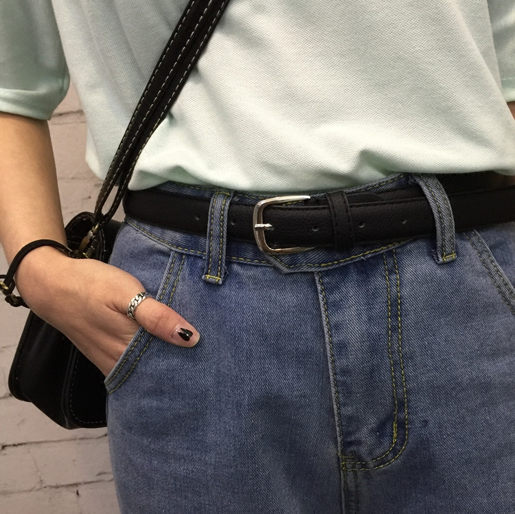 黑色皮带女款pu皮女士学生腰带女细时尚韩版休闲百搭装饰简约裤带